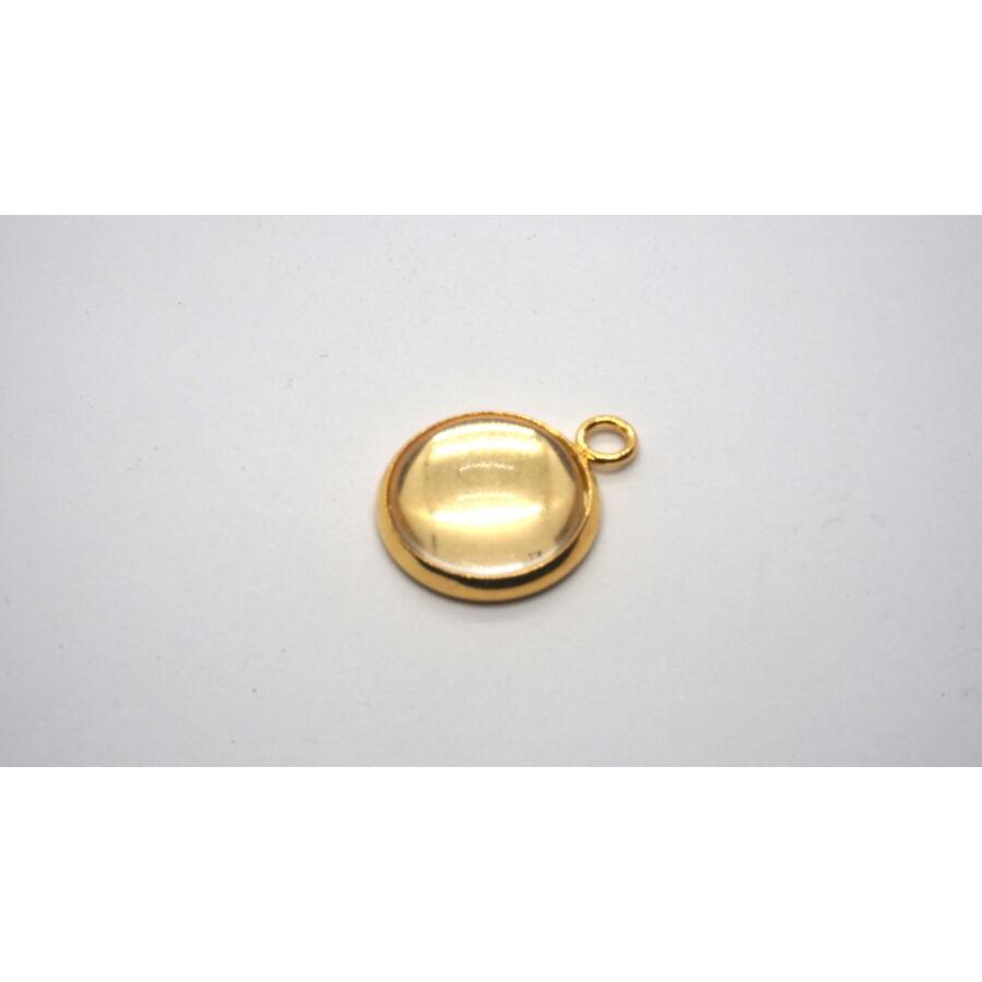Arany színű nemesacél medálalap (12mm) hozzá tartozó üveglencsével