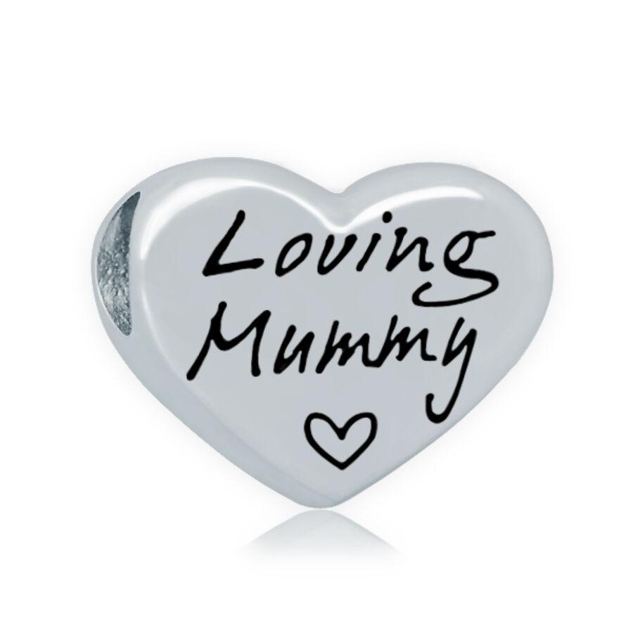 316 Nemesacél Loving Mummy szív gyöngy (13x16mm)