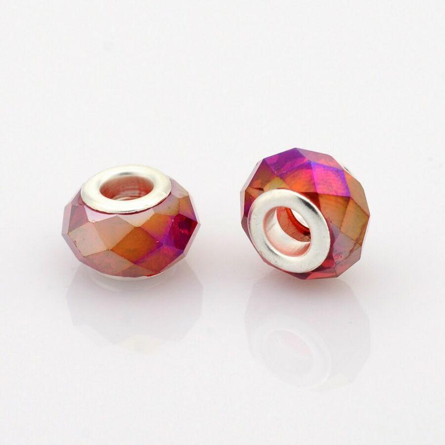 Vörös színű pandora stílusú gyöngy (14x9mm)