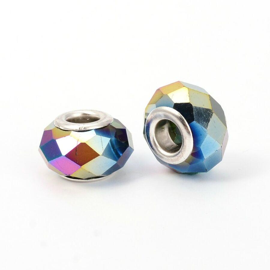 Szivárvány színű pandora stílusú gyöngy (14x9mm)