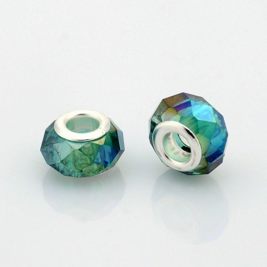 Kékes zöld színű pandora stílusú gyöngy (14x9mm)