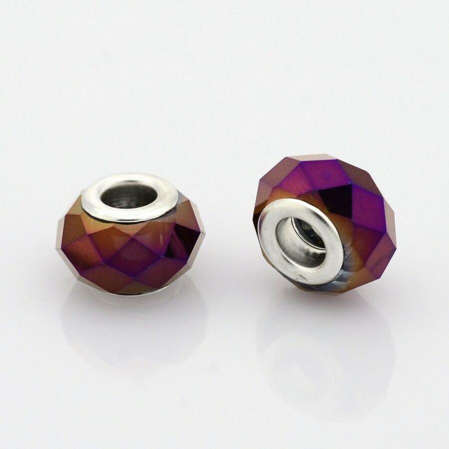 Lila színű pandora stílusú gyöngy (14x9mm)