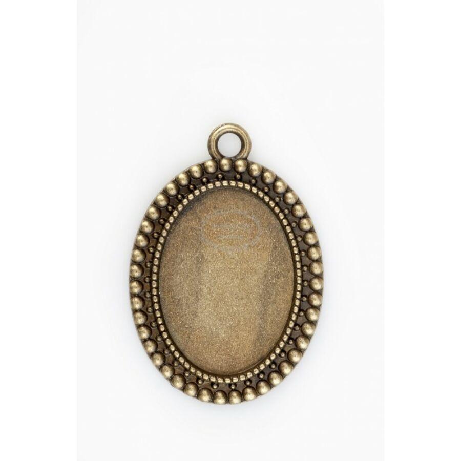 Antikolt bronz színű pöttysoros medálalap (18x25mm)