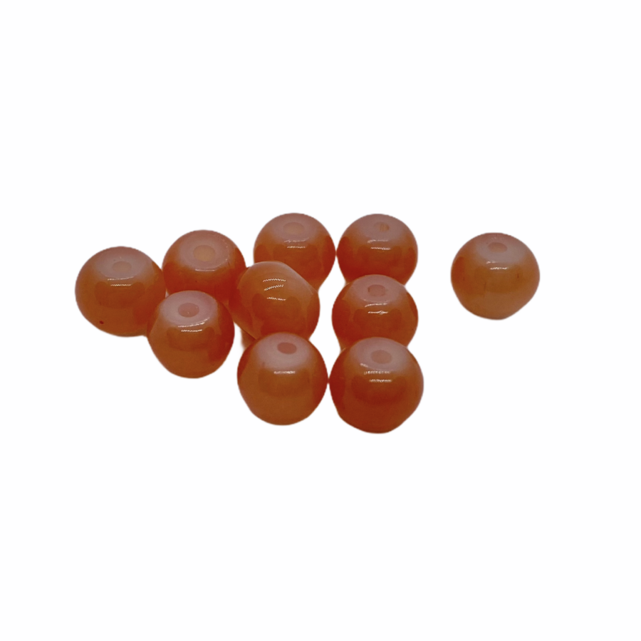 10db műanyag narancssárga gyöngy (6mm)